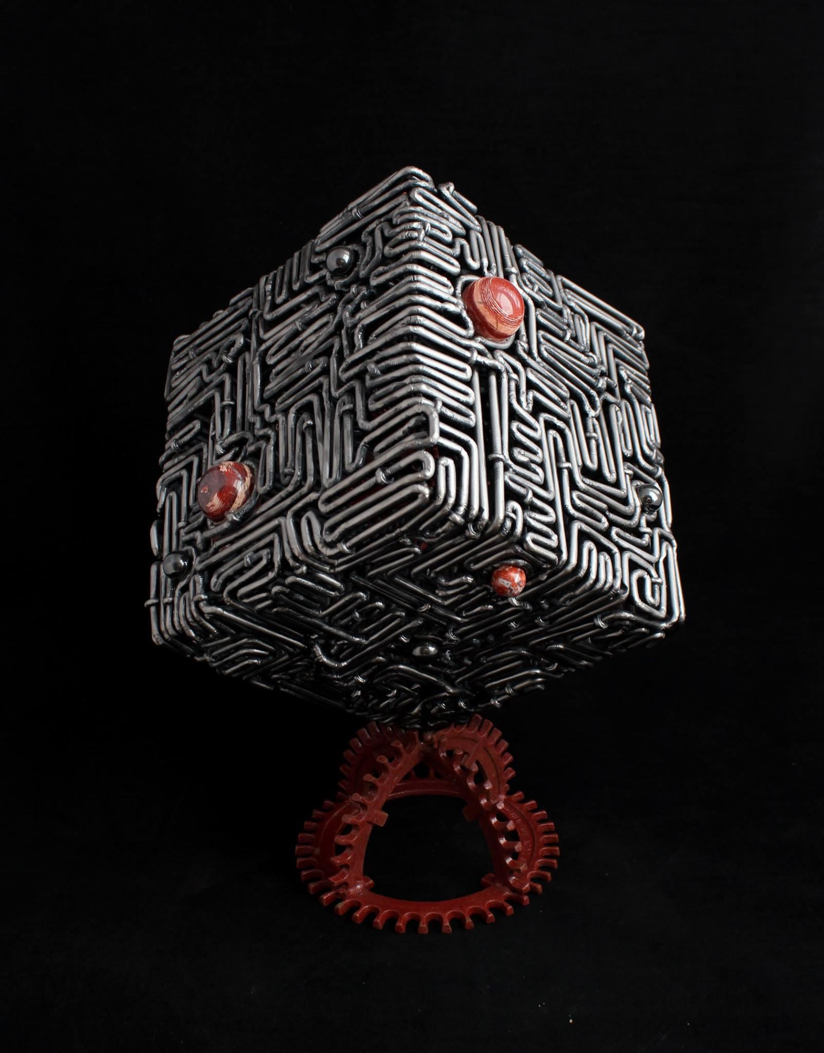 metal art - handmade sculptures - steel maze cube sculpture - mccallister sculpture - scottsdale art