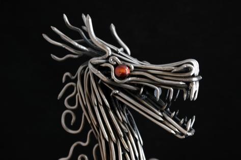 mccallister sculpture - metalwork - handmade sculptures - Japanese steel Dragon sculpture - ryan mcallister - scottsdale arizona arts