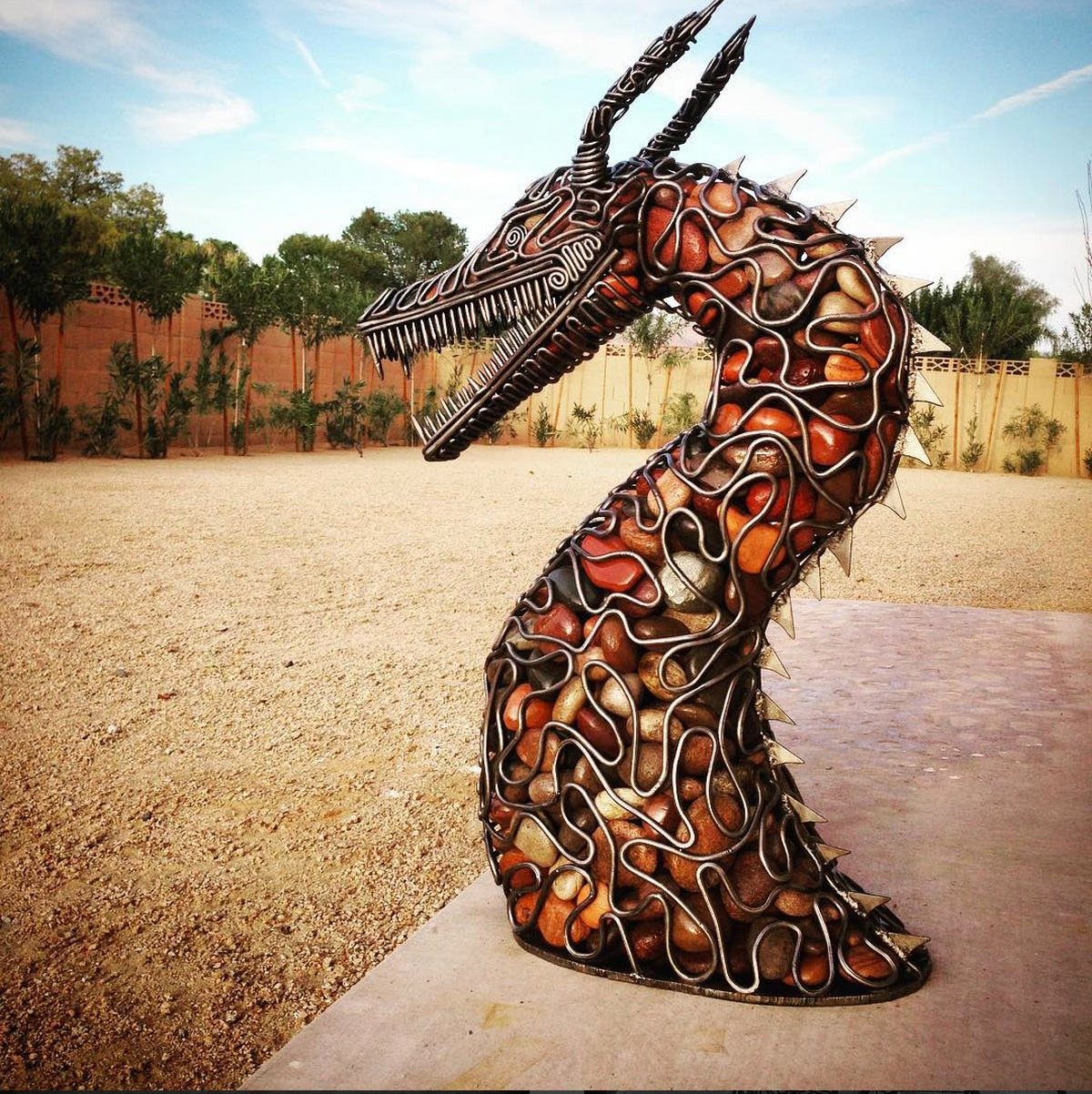 Steel Rod River Rock Dragon Outdoor Sculpture - McCallister Sculpture