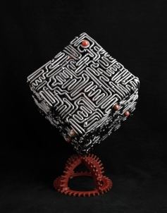 metal art - handmade sculptures - steel maze cube sculpture - mccallister sculpture - scottsdale art