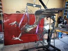 Griffin Eagle Lion Steel Sculpture - McCallister Sculpture